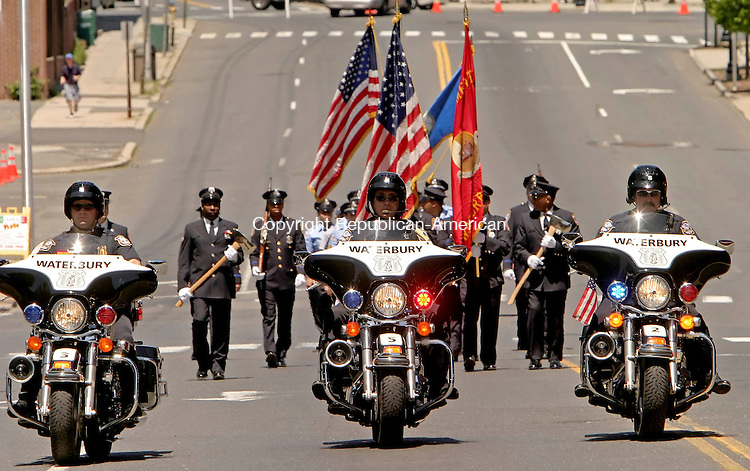WATERBURY, CT- 25 MAY 2008 --052508JS10-Waterbury Police motorcycles officers lead the start of the annual Waterbury Memorial Day parade on Sunday. <br /> Jim Shannon / Republican-American
