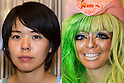 Before and after pictures of a female customer who was transformed into a ganguro girl at the Ganguro Cafe &amp; Bar in the Shibuya shopping area on September 4, 2015. <br /> <br /> Ganguro is an alternative Japanese fashion trend which started in the mid-1990s where young women, rebelling against the traditional idea of Japanese beauty, wore colorful make-up and clothes and had dark-skin.<br /> <br /> 10 Ganguro fashion girls work in the new bar, which offers original Ganguro Balls (fried takoyaki style sausage balls in black squid ink batter) on its menu. Ganguro Caf&eacute; &amp; Bar also offers special services such as Ganguro make-up and the chance to take purikura (photo booth pictures) with staff and to look like a Ganguro girl walking around the Shibuya streets.<br /> <br /> The bar is popular with both Japanese and foreigners and has menus translated in English. (Photo by Rodrigo Reyes Marin/AFLO)