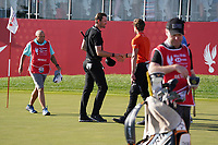 Sebastian Heisele (GER) and Thomas Detry (BEL) on the 18th green during Round 4 of the Abu Dhabi HSBC Championship at the Abu Dhabi Golf Club, Abu Dhabi, United Arab Emirates. 19/01/2020<br /> Picture: Golffile | Thos Caffrey<br /> <br /> <br /> All photo usage must carry mandatory copyright credit (© Golffile | Thos Caffrey)