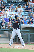 Gareth Morgan (16) of the AZL Mariners bats during a game against the AZL Royals at Surprise Stadium on July 4, 2015 in Surprise, Arizona. Mariners defeated the Royals, 7-4. (Larry Goren/Four Seam Images)