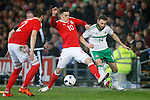 Tom Lawrence of Wales battles Stuart Dallas of Northern Ireland during the international friendly match at the Cardiff City Stadium. Photo credit should read: Philip Oldham/Sportimage