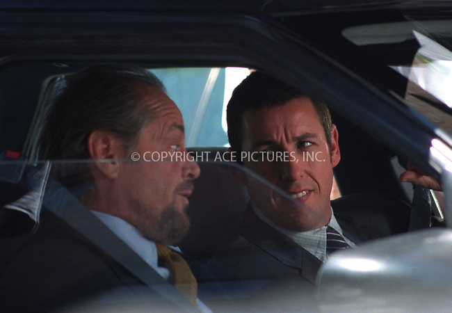 """Jack Nicholson and Adam Sandler on a set of """"Anger Management"""" in Green Point, Brooklyn. New York, July 5, 2002. Please byline: Alecsey Boldeskul/NY Photo Press.   ..*PAY-PER-USE*      ....NY Photo Press:  ..phone (646) 267-6913;   ..e-mail: info@nyphotopress.com"""