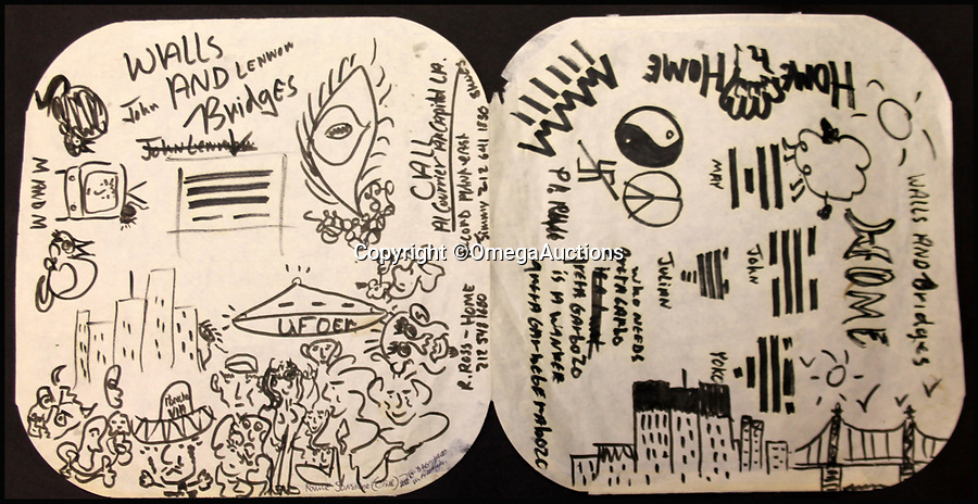BNPS.co.uk (01202 558833)<br /> Pic: OmegaAuctions/BNPS<br /> <br /> A record inner sleeve covered in doodles and drawings by John Lennon as he brainstormed ideas for an album cover has emerged for auction and is tipped to sell for £15,000.<br /> <br /> The sketchings, in black felt tip pen, are believed to have been Lennon's initial ideas for the cover of his Walls and Bridges album (1974) and span both sides of an opened out record sleeve. <br /> <br /> The record sleeve was given by Lennon to Jesse Davies, a session musician who provided lead guitar on the album.