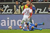Felix Wiedwald (Eintracht) rettet gegen Mario Götze (Bayern) - Eintracht Frankfurt vs. FC Bayern München, Commerzbank Arena