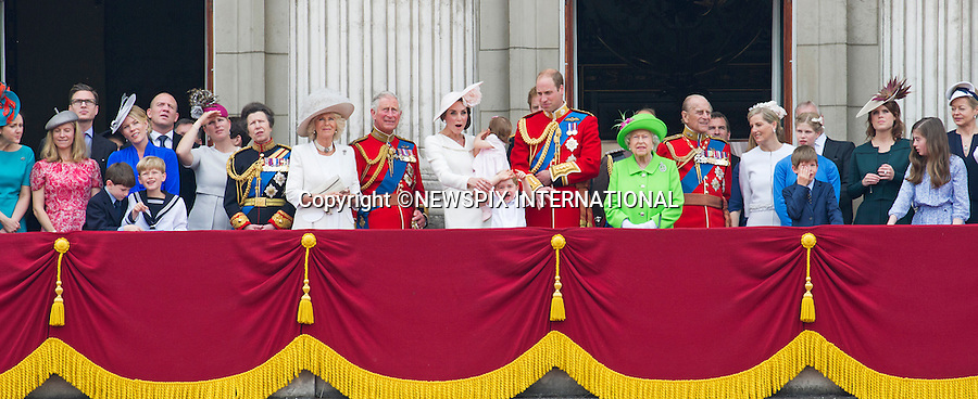 11.06.2016; London, UK: QUEEN&rsquo;S 90TH OFFICAIL BIRTHDAY<br /> Most members of the British Royal Family joined the Queen for the Trooping The Colour that marks her official birthday.<br /> Royals present included the Duke of Edinburgh, Prince Charles and Camilla, Duchess of Cornwall, Prince William, Kate Middleton, Prince George; Princess Charlotte; Prince Harry, Prince Andrew; Princess Beatrice, Princess Eugenie, Prince Edward, Sophie Wessex, Viscount Severn, Lady Louise Mountbatten-Windsor, Princess Anne, Zara Phillips &amp; Mike Tindal, Prince and Princess Michael Of Kent, Lady Helen Taylor, Duke of Kent, Duke of Gloucester and Duchess of Gloucester,Peter Phillips and Autumn and Lady Amelia Windsor.<br /> Mandatory Credit Photo: &copy;Joe Dias/NEWSPIX INTERNATIONAL<br /> <br /> (Failure to credit will incur a surcharge of 100% of reproduction fees)<br /> IMMEDIATE CONFIRMATION OF USAGE REQUIRED:<br /> Newspix International, 31 Chinnery Hill, Bishop's Stortford, ENGLAND CM23 3PS<br /> Tel:+441279 324672  ; Fax: +441279656877<br /> Mobile:  07775681153<br /> e-mail: info@newspixinternational.co.uk<br /> Please refer to usage terms. All Fees Payable To Newspix International