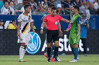 Carson, CA - Saturday July 29, 2017: Giovani dos Santos, Armando Villarreal, Cristian Roldan during a Major League Soccer (MLS) game between the Los Angeles Galaxy and the Seattle Sounders FC at StubHub Center.