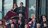 West Ham United co Owner Karren Brady sits beside her husband Paul Peschisolido during the EPL - Premier League match between West Ham United and Southampton at the Olympic Park, London, England on 31 March 2018. Photo by Andy Rowland.