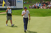 Justin Thomas (USA) sinks his putt on 3 during 1st round of the World Golf Championships - Bridgestone Invitational, at the Firestone Country Club, Akron, Ohio. 8/2/2018.<br /> Picture: Golffile | Ken Murray<br /> <br /> <br /> All photo usage must carry mandatory copyright credit (© Golffile | Ken Murray)