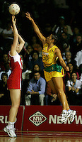 16.11.2007 England's Louisa Brownfield and Australian Mo'onia Gerrard in action during the Australia v England match at the New World Netball World Champs held at Trusts Stadium Auckland New Zealand. Mandatory Photo Credit ©Michael Bradley.