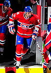 10 April 2010: Montreal Canadiens' defenseman Ryan O'Byrne sets to the ice during pre-game introductions prior to the last game of the regular season against the Toronto Maple Leafs at the Bell Centre in Montreal, Quebec, Canada. The Leafs defeated the Habs 4-3 in sudden death overtime, as the Canadiens advance to the Stanley Cup Playoffs with the single point. Mandatory Credit: Ed Wolfstein Photo