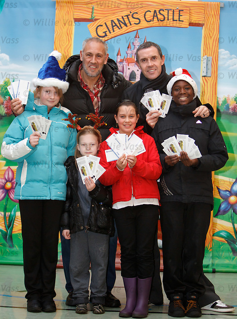 Mark Hateley and David Weir at Ibrox Primary School as Rangers give lots of tickets for the ICT match to schoolkids as a seasonal gesture. Lauren Penrose, Sarah Thomson, Chloe Gardener and David Abba
