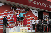 2018 Amstel Gold Race winners Chantal Blaak (NED/Boels Dolmans) and Michael Valgren Andersen (DEN/Astana) on the podium<br /> <br /> 53th Amstel Gold Race (1.UWT)<br /> 1 Day Race: Maastricht > Berg en Terblijt (263km)