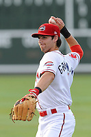 Second baseman Reed Gragnani (7) of the Greenville Drive in a game against the Rome Braves on Thursday, August 22, 2013, at Fluor Field at the West End in Greenville, South Carolina. Gragnani was a 21st-round pick out of the University of Virginia by the Boston Red Sox in the 2013 First-Year Player Draft. Rome won, 7-3. (Tom Priddy/Four Seam Images)