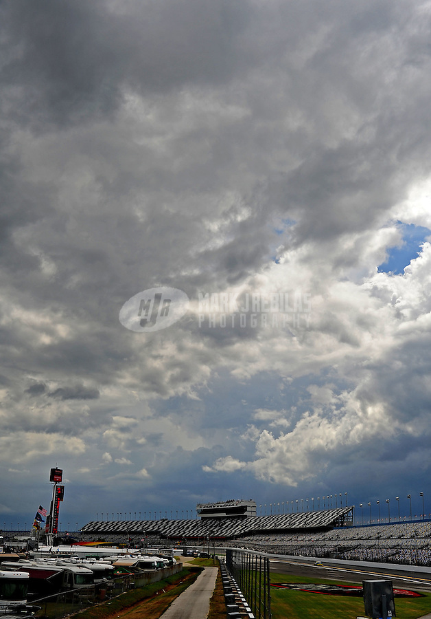 Jul. 1, 2010; Daytona Beach, FL, USA; Overall view of the main grandstand during NASCAR Sprint Cup Series practice for the Coke Zero 400 at Daytona International Speedway. Mandatory Credit: Mark J. Rebilas-