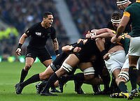 Aaron Smith of New Zealand shouts out encouragement to his forwards. Rugby World Cup Semi Final between South Africa and New Zealand on October 24, 2015 at Twickenham Stadium in London, England. Photo by: Patrick Khachfe / Onside Images
