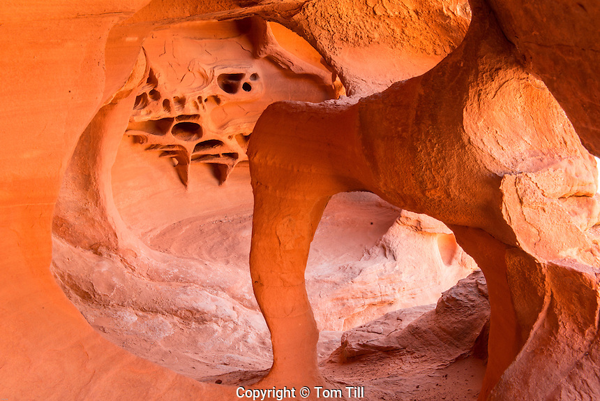 Arch in a slot sandstone cave, Valley of Fire State Park, Nevada, Near Las Vegas