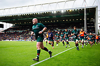 Dan Cole leads the Leicester Tigers team off the field at the end of the pre-match warm-up. Gallagher Premiership match, between Leicester Tigers and Bristol Bears on April 27, 2019 at Welford Road in Leicester, England. Photo by: Patrick Khachfe / JMP