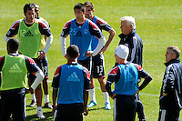 New York Red Bulls head coach Hans Backe addresses players during a practice at Red Bull Arena in Harrison, NJ, on March 16, 2010.