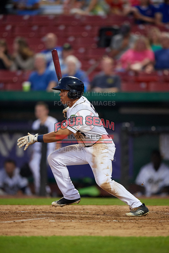 Kane County Cougars center fielder Gabriel Maciel (5) hits an infield single during a game against the South Bend Cubs on July 23, 2018 at Northwestern Medicine Field in Geneva, Illinois.  Kane County defeated South Bend 8-5.  (Mike Janes/Four Seam Images)