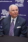 High Point University President Dr. Nido Qubein looks on during a press conference at the Hayworth Fine Arts Center on the campus of High Point University on March 27, 2018 in High Point, North Carolina.  (Brian Westerholt/Sports On Film)