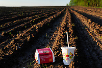 GERMANY, Mc Donalds fastfood products on field / DEUTSCHLAND, Mc Donalds Fast Food Produkte auf dem Acker