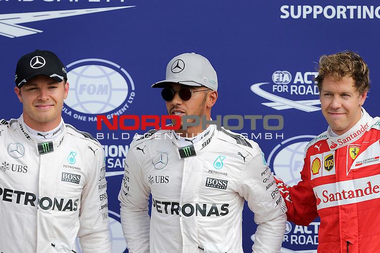 02.09.-04.09.2016, Autodromo Nationale, Monza, ITA, F1, Grosser Preis von Italien, Monza,  Race 14, im Bild <br /> Poleposition und damit die erste Startreihe f&uuml;r Lewis Hamilton (GB#44), Mercedes AMG Petronas Formula One Team, 2.Platz f&uuml;r Nico Rosberg (GER#6), Mercedes AMG Petronas Formula One Team, 3.Startplatz f&uuml;r Sebastian Vettel (GER#5), Scuderia Ferrari<br /> <br /> <br /> Foto &copy; nordphoto / Bratic