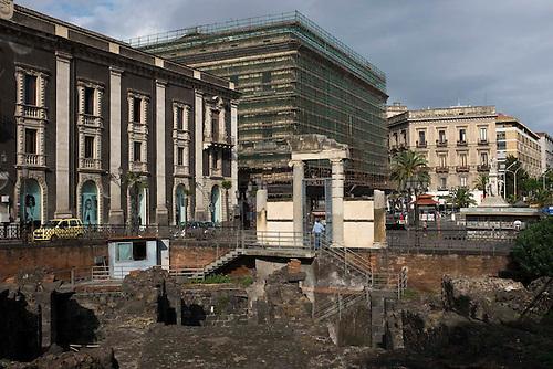 Catane, Sicile, Italie, spet 2015. Amphitheatre romain.