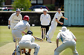 Scottish National Cricket League - Premier Div - West of Scotland CC V Aberdeenshire, at Hamilton Cres, Glasgow - 'Shire Pro Todd Astle lofts the  ball in to West bat Greg Watson past umpire Billy McPate and non-striking bat Dougie Lockhart - Picture by Donald MacLeod 11.07.09