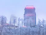 Wintertime scenery of Fallsview Casino, Niagara Falls, Ontario, Canada.
