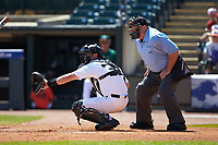 Wake Forest Demon Deacons catcher Ben Breazeale (39) sets a target as home plate umpire Jay Asher looks on during the game against the Miami Hurricanes in Game Nine of the 2017 ACC Baseball Championship at Louisville Slugger Field on May 26, 2017 in Louisville, Kentucky. The Hurricanes defeated the Demon Deacons 5-2. (Brian Westerholt/Four Seam Images)