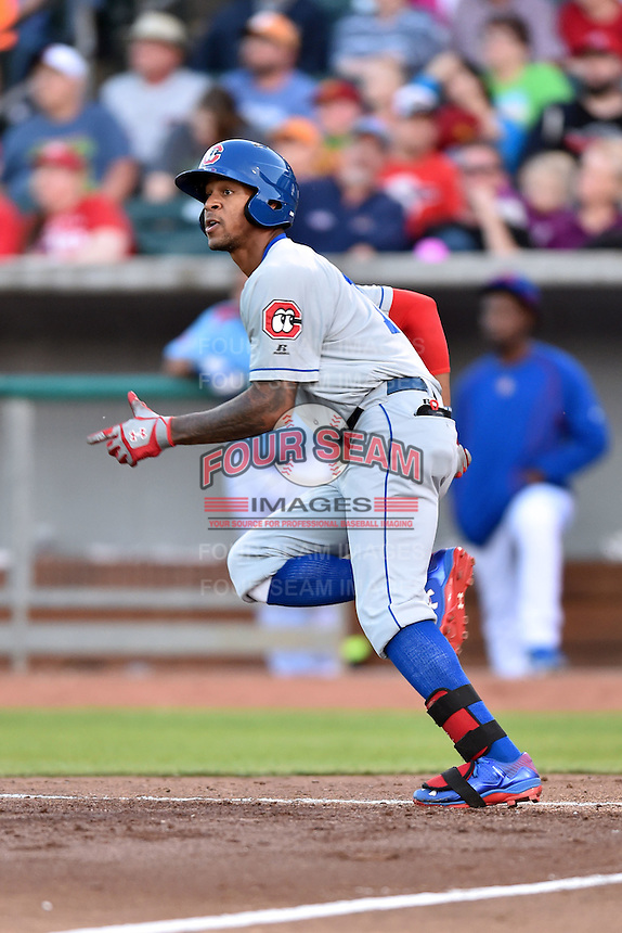 Chattanooga Lookouts center fielder Byron Buxton (7) rounds the bases after hitting a home run during a game against the Tennessee Smokies on April 25, 2015 in Kodak, Tennessee. The Smokies defeated the Lookouts 16-10. (Tony Farlow/Four Seam Images)