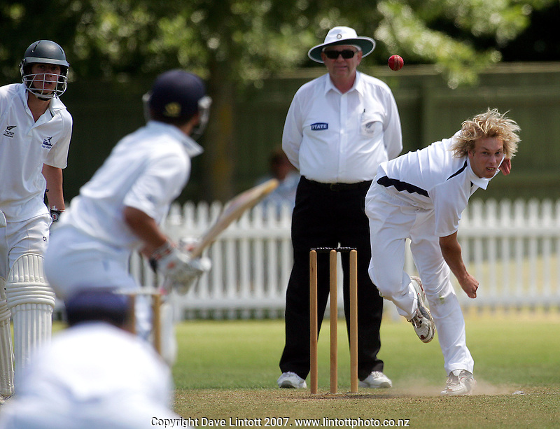 Christchurch Boys' High School's Sam Noster bowls to Westlake in the Gillette Cup final during the Gillette Cup Cricket final between Christchurch BHS and Westlake BHS at Fitzherbert Park, Palmerston North, New Zealand on Sunday, 16 December 2007. Photo: Dave Lintott / lintottphoto.co.nz.