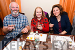 Thomas and Clare O'Connor, from Tralee, with Lisa Brown enjoying the whiskey cocktails tasting at John Benny's, Dingle, on Friday night.