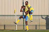Joel Nouble of Haringey scores the winning goal to send his team into the first round of the FA cup to play AFC Wimbledon during Haringey Borough vs Poole Town, Emirates FA Cup Football at Coles Park Stadium on 20th October 2018