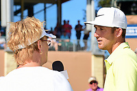 Kevin Chappell (USA) is interviewed by CBS Sports analyst Dottie Pepper following round 4 of the Valero Texas Open, AT&amp;T Oaks Course, TPC San Antonio, San Antonio, Texas, USA. 4/23/2017.<br /> Picture: Golffile | Ken Murray<br /> <br /> <br /> All photo usage must carry mandatory copyright credit (&copy; Golffile | Ken Murray)