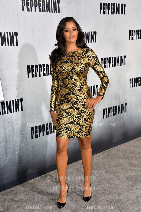 """LOS ANGELES, CA. August 28, 2018: Claudia Jordan at the world premiere of """"Peppermint"""" at the Regal LA Live."""