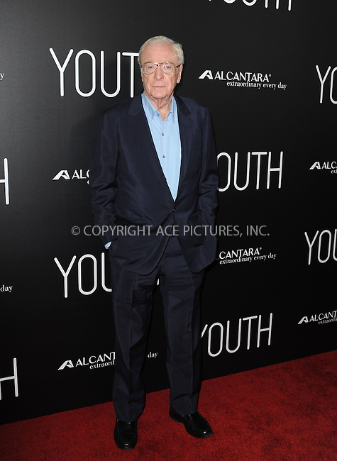WWW.ACEPIXS.COM<br /> <br /> November 17 2015, LA<br /> <br /> Michael Caine arriving at the premiere of 'Youth' at the DGA Theater on November 17, 2015 in Los Angeles, California<br /> <br /> By Line: Peter West/ACE Pictures<br /> <br /> <br /> ACE Pictures, Inc.<br /> tel: 646 769 0430<br /> Email: info@acepixs.com<br /> www.acepixs.com