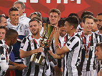 Juventus player celebrate after winning   the  Coppa Italia ( Tim Cup) final soccer match,  Ac Milan  - Juventus Fc       at  the Stadio Olimpico in Rome  Italy , 09 May 2018
