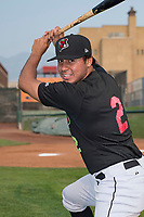Great Falls Voyagers infielder Lenyn Sosa (2) poses for a photo prior to a Pioneer League game against the Ogden Raptors at Lindquist Field on August 23, 2018 in Ogden, Utah. The Ogden Raptors defeated the Great Falls Voyagers by a score of 8-7. (Zachary Lucy/Four Seam Images)