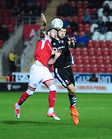 Lincoln City's Sean Long vies for possession with Rotherham United's Anthony Forde<br /> <br /> Photographer Andrew Vaughan/CameraSport<br /> <br /> The Carabao Cup First Round - Rotherham United v Lincoln City - Tuesday 8th August 2017 - New York Stadium - Rotherham<br />  <br /> World Copyright &copy; 2017 CameraSport. All rights reserved. 43 Linden Ave. Countesthorpe. Leicester. England. LE8 5PG - Tel: +44 (0) 116 277 4147 - admin@camerasport.com - www.camerasport.com