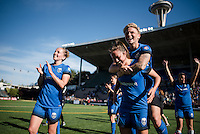 Seattle, Washington - Sunday, June 12, 2016: Seattle Reign FC defender Lauren Barnes (3) and Seattle Reign FC midfielder Jessica Fishlock (10) celebrate after a regular season National Women's Soccer League (NWSL) match at Memorial Stadium. Seattle won 1-0.