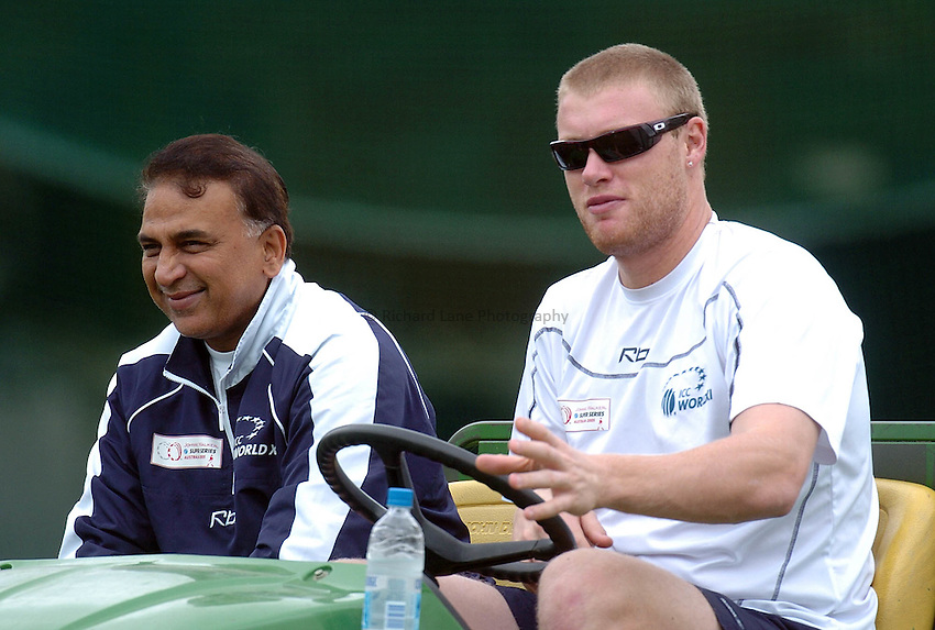 Photo: Steve Holland..Test Match Series. Australia v ICC World XI. 13/10/2005. World Training session..Chairman of the ICC World XI Selection Panel, Sunil Gavaskar and England's Andrew Flintoff