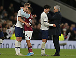Tottenham's Head Coach Jose Mourinho and Son Heung-min celebrate as Tottenham's Harry Kane hugs Burnley's Aaron Lennon after the Premier League match at the Tottenham Hotspur Stadium, London. Picture date: 7th December 2019. Picture credit should read: Paul Terry/Sportimage