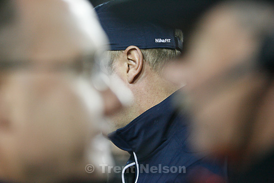 Trent Nelson  |  The Salt Lake Tribune.BYU coach Bronco Mendenhall (ear) during the second half,  BYU vs. New Mexico, Saturday, November 20, 2010.