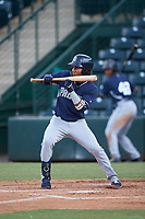 Yordi Francisco (5), of the AZL Padres 1, squares to bunt during an Arizona League game against the AZL Angels on August 5, 2019 at Tempe Diablo Stadium in Tempe, Arizona. AZL Padres 1 defeated the AZL Angels 5-0. (Zachary Lucy/Four Seam Images)
