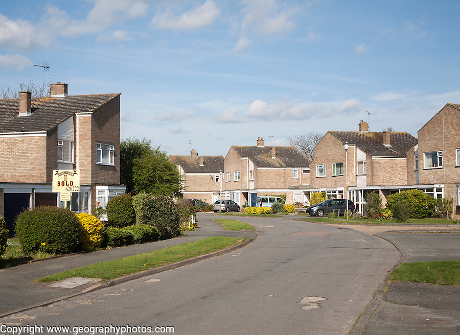 Private housing on suburban housing estate in Woodbridge, Suffolk, England