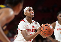 COLLEGE PARK, MD - DECEMBER 28: Kaila Charles #5 of Maryland at the free throw line. during a game between University of Michigan and University of Maryland at Xfinity Center on December 28, 2019 in College Park, Maryland.