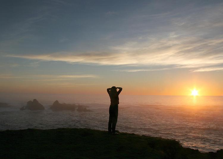 Enjoying sunset Mendocino Headlands state park