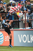 Chris Wondolowski kicks the pinata for the fans. Chivas USA defeated the San Jose Earthquakes 2-1 at Buck Shaw Stadium in Santa Clara, California on April 23rd, 2011.