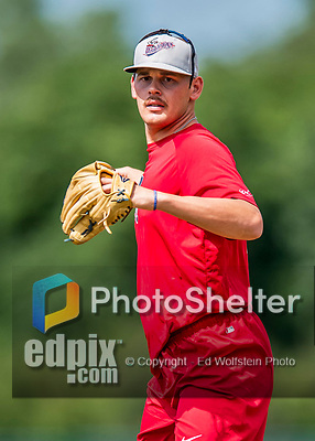 16 July 2017: Auburn Doubledays pitcher Gabe Klobosits works on pre-game drills prior to a game against the Vermont Lake Monsters at Centennial Field in Burlington, Vermont. The Monsters defeated the Doubledays 6-3 in NY Penn League action. Mandatory Credit: Ed Wolfstein Photo *** RAW (NEF) Image File Available ***